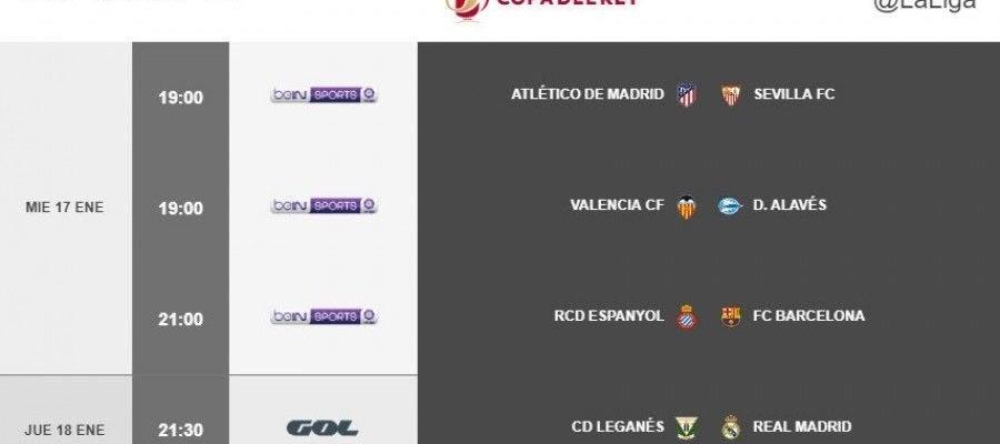 Horarios de la ida de cuartos de final de Copa del Rey