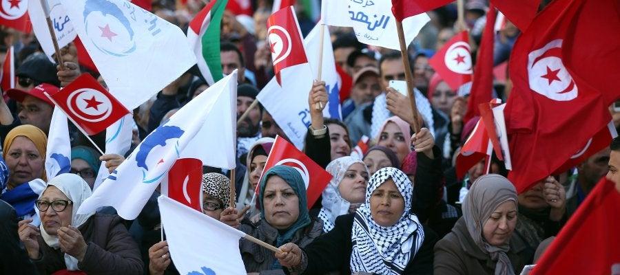 Protestas en Túnez en el aniversario de la primavera árabe