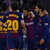 El Barcelona celebra un gol en Anoeta ante la Real Sociedad