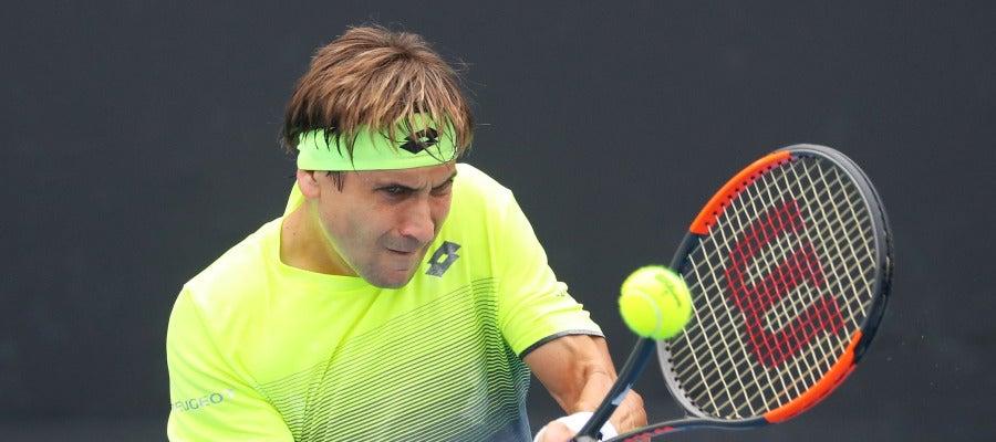 David Ferrer, durante su partido en el Open de Australia