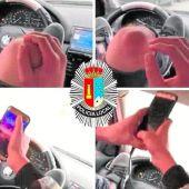 Un hombre conduce con los pies al volante