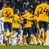 Los jugadores del Atlético celebran un gol ante el Copenhague