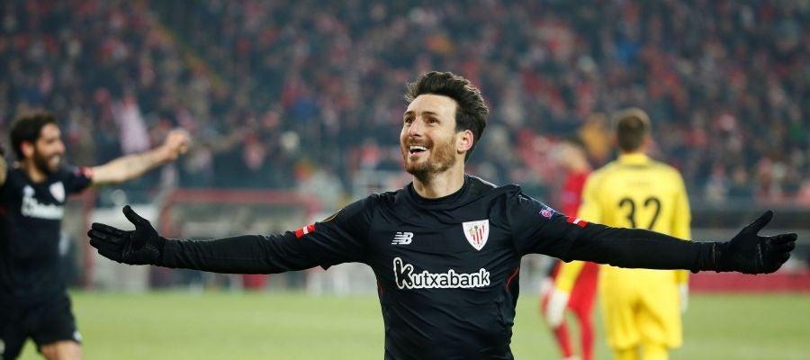 Aduriz celebra un gol ante el Spartak de Moscú