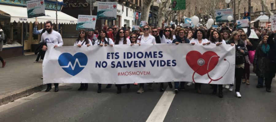 Manifestantes de 'Mos Movem' en Palma