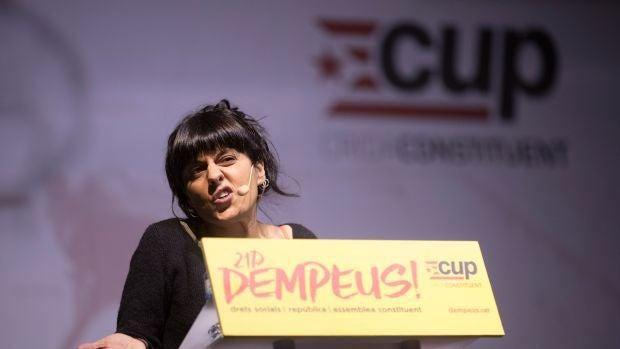 La exdiputada Anna Gabriel durante su intervención en un mitin de campaña de la CUP en Barcelona
