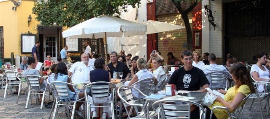 Una de las terrazas de la calle Blanquerna de Palma.