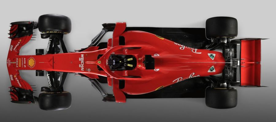 El nuevo Ferrari SF71H, visto desde arriba