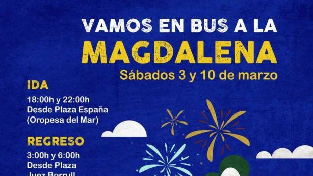 Oropesa del Mar refuerza el servicio de autobús para desplazarse a Castellón los sábados de Magdalena.