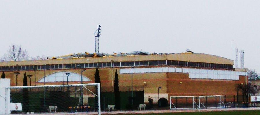 Estado de la cubierta del Polideportivo Rey Juan Carlos