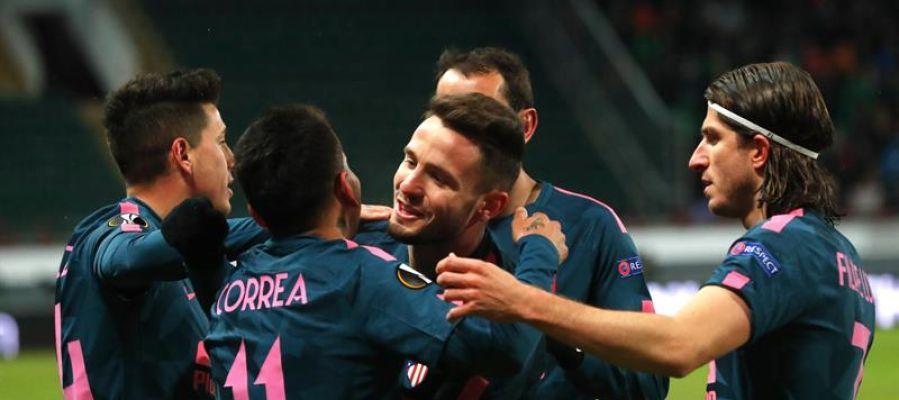 Los jugadores de Atlético de Madrid celebran un gol ante el Lokomotiv