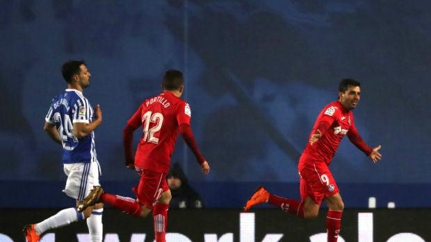 """Ángel: """"Estoy contento por el gol y por la victoria en Anoeta"""""""