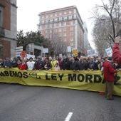 Manifestación en contra de la denominada 'ley mordaza'