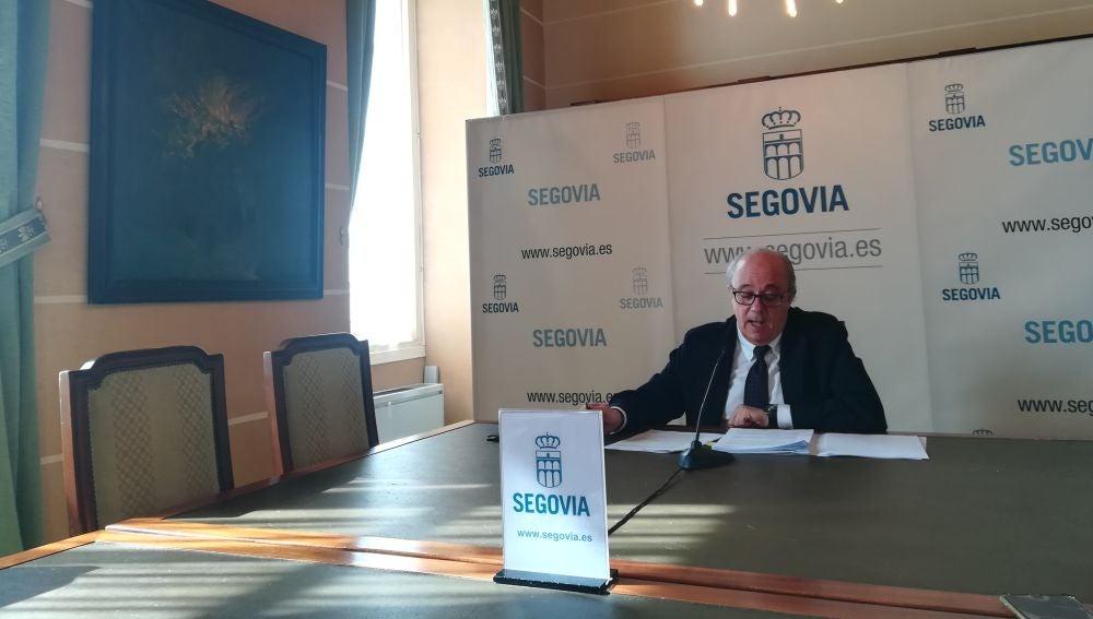 Alfonso Reguera, portavoz del PSOE, en la rueda de prensa de esta mañana