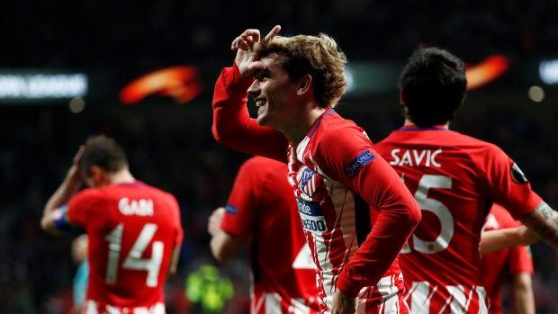 Griezmann celebra su gol contra el Sporting