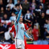 Iago Aspas celebra un gol ante el Sevilla