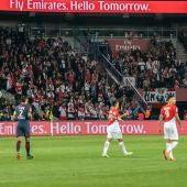 Aficionados de Mónaco, al encajar un gol del PSG