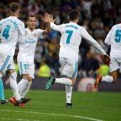 Ramos, Lucas y Ronaldo celebran el tanto ante el Athletic