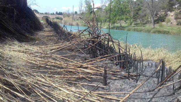 Un incendio quema 200 metros cuadrados de vegetación en el Paisaje Protegido de la Desembocadura del río Mijares.