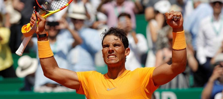 Rafa Nadal celebra su victoria en Montecarlo