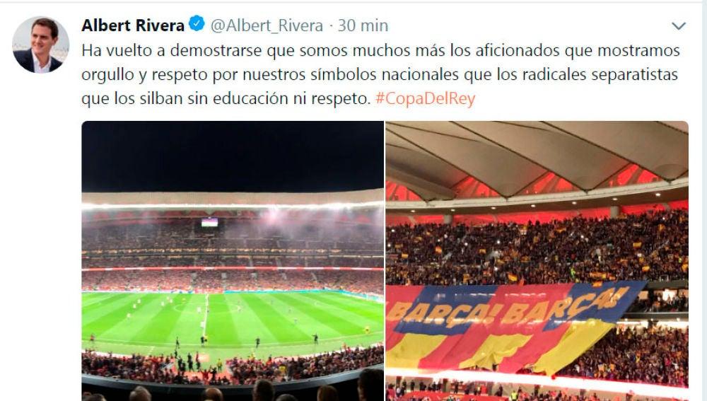 Tuit de Albert Rivera sobre el sonido del himno de España en la Final de la Copa del rey