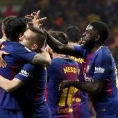 El Barcelona celebrando el gol