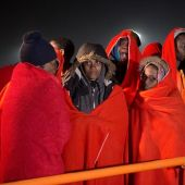 Los 55 inmigrantes rescatados de una patera en Motril