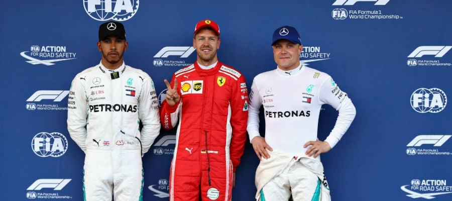 Hamilton, Vettel y Bottas