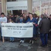Concentración de periodistas de Ciudad Real en la Plaza Mayor