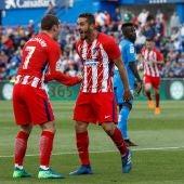 Koke celebrando el gol