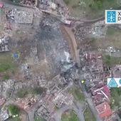 Un dron graba cómo quedó la zona de la explosión en la pirotecnia clandestina de Tui