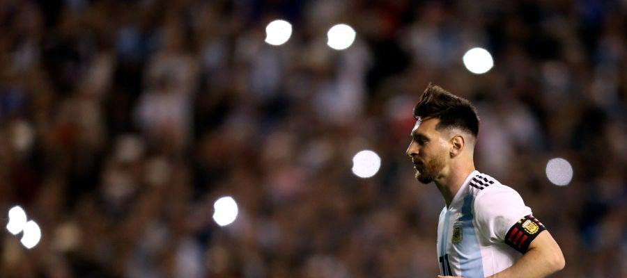 Messi, jugando con la selección argentina