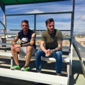Aarón y Sául Ñíguez se han acercado este miércoles a presenciar la sesión de entrenamiento del Elche CF.