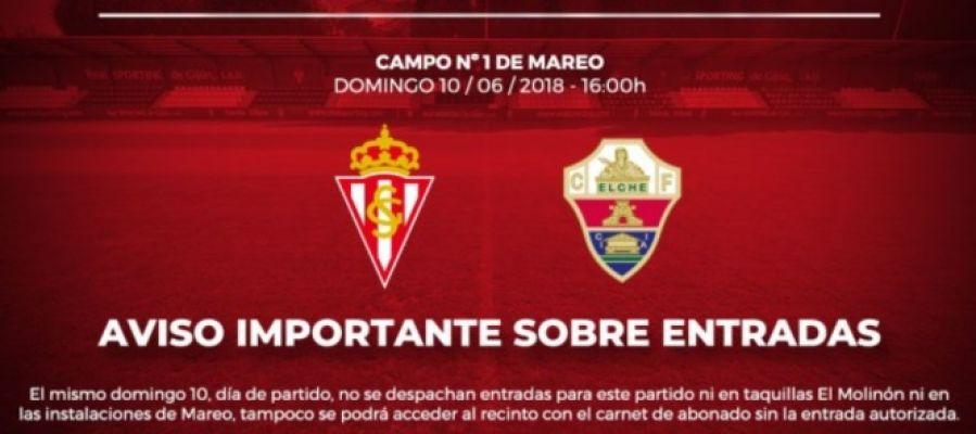 El Spoerting de Gijón ha dado a conocer este jueves su política de reparto de entradas para el partido entre su filial y el Elche CF.