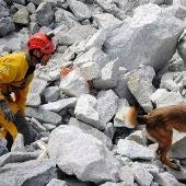 Sergio Pérez, bombero de Elche, con Titán, su binomio canino durante la prueba en Ferrol