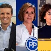 Los candidatos a la presidencia del PP: José Ramón García-Hernández, Pablo Casado, María Dolores de Cospedal y Soraya Sáenz de Santamaría