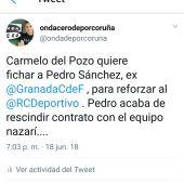El Deportivo confirma fichaje Pedro Sánchez