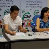 Miembros del sindicato CSIF de Ciudad Real durante la rueda de prensa