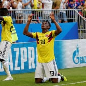 Yerry Mina celebra su gol ante Senegal
