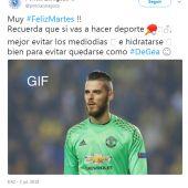 El tuit de la Policía de Zaragoza sobre De Gea