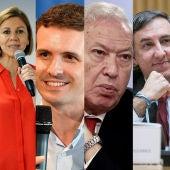 Los seis candidatos a las primarias del PP: Soraya Sáenz de Santamaría, María Dolores de Cospedal, Pablo Casado, José Manuel García-Margallo, José Ramón García, Elio Cabanes Sanchís