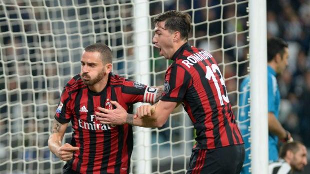 Bonucci celebra un gol con Romagnoli