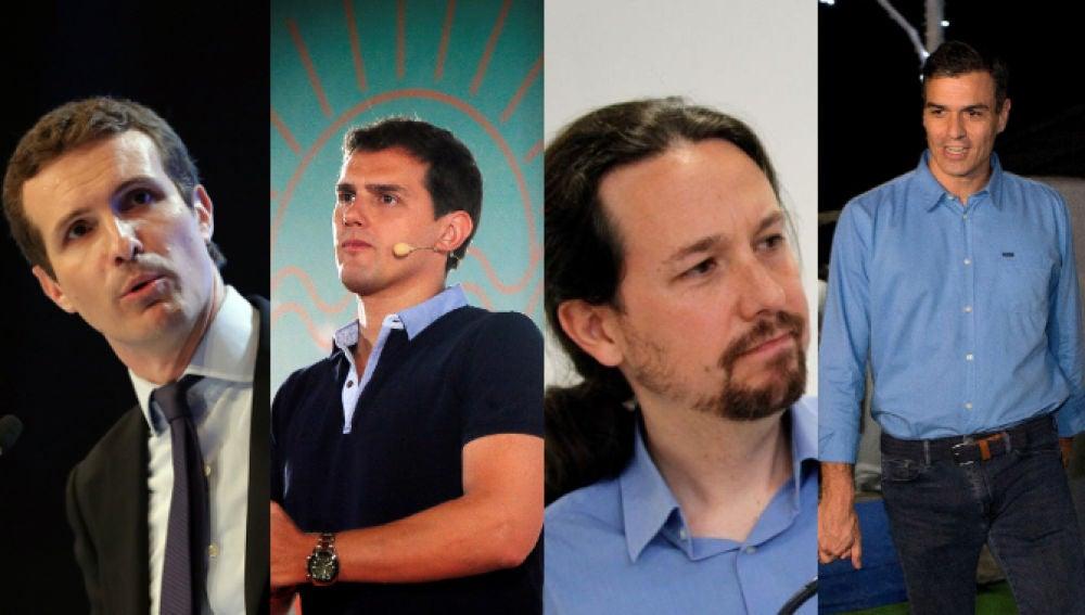 Pablo Casado, Albert Rivera, Pablo Iglesias y Pedro Sánchez