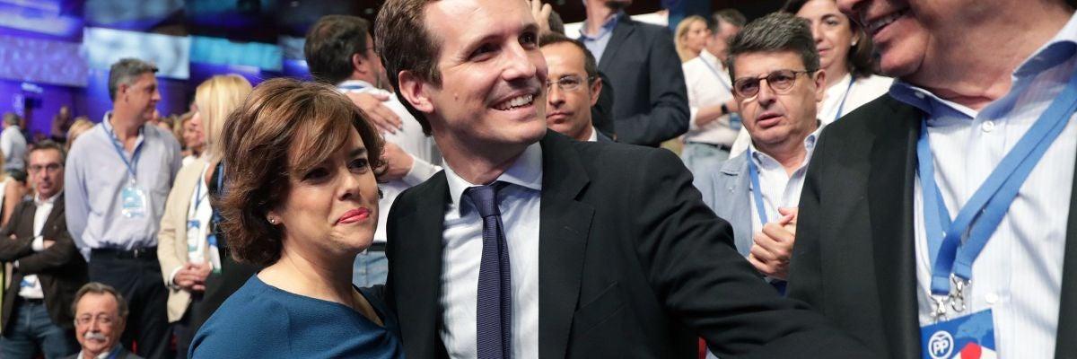 Los candidatos a la Presidencia del PP, Soraya Sáenz de Santamaría y Pablo Casado