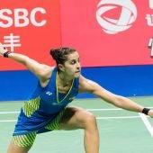 Carolina Marín, en acción durante la final ante Pusarla