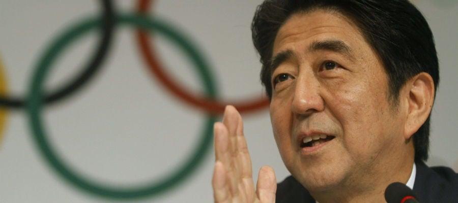 El primer ministro japonés, Shinzo Abe, en una rueda de prensa tras la presentación de Tokio 2020