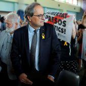 El presidente de la Generalitat de Cataluña, Quim Torra, asiste a la clausura de la 50 edición de la Universitat Catalana d'Estiu (UCE ) en la localidad de Prada de Conflent (Francia