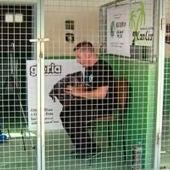 Alfredo Díaz Sábanos encerrado en una jaula