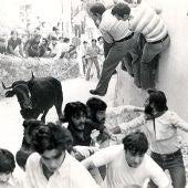Foto antigua de la suelta de vaquillas en la ciudad, hace décadas