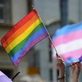 Bandera LGTBI y bandera trans (Archivo)