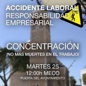 CC.OO. convoca una concentración contra los accidentes en el trabajo